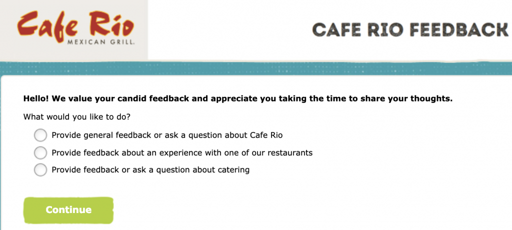 Cafe Rio Guest Satisfaction Survey