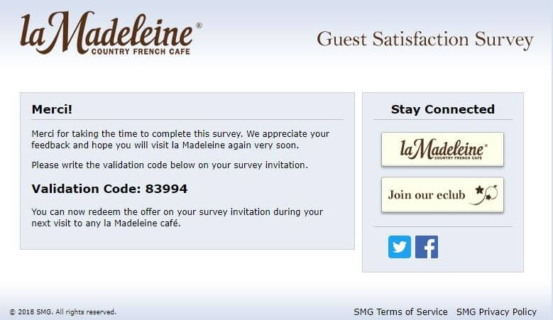 Madeleine Café guest satisfaction Code
