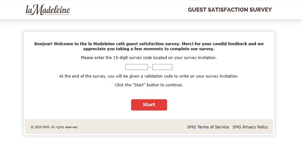 Madeleine Café guest satisfaction survey