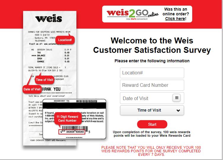 Weis Feedback Survey at weisfeedback.com