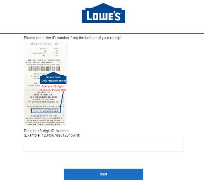 Lowes Survey receipt number