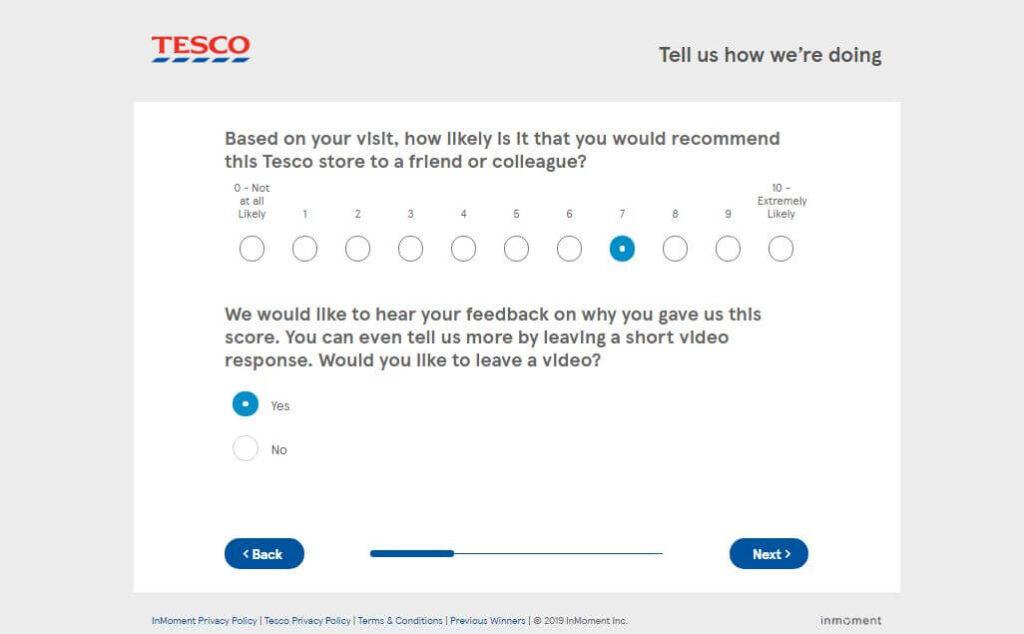Tesco Survey Rating