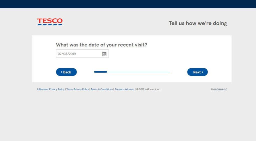 Tesco Survey visit date