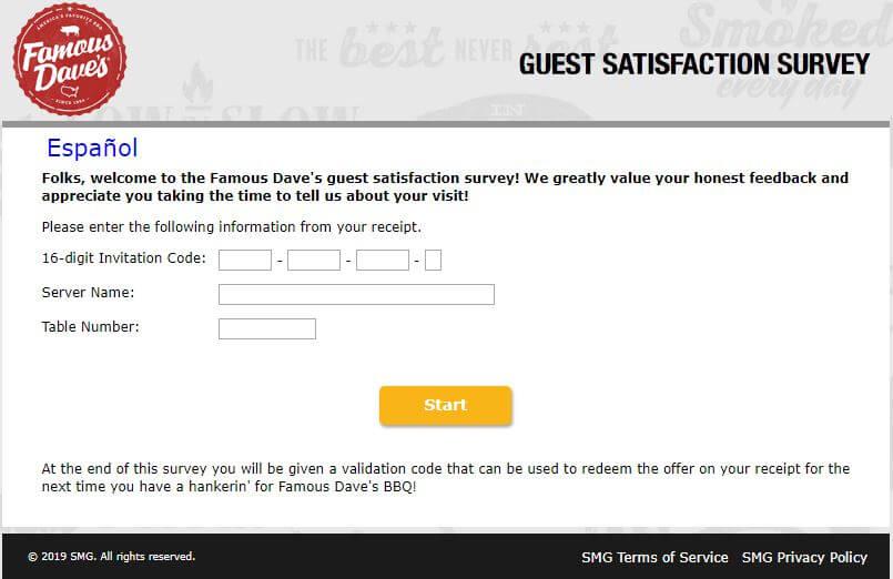 famousdavesfeedback survey